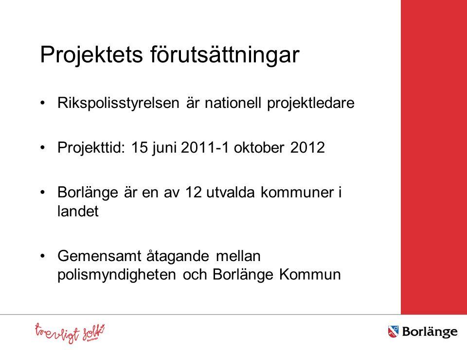 Projektets förutsättningar Rikspolisstyrelsen är nationell projektledare Projekttid: 15 juni 2011-1 oktober 2012 Borlänge är en av 12 utvalda kommuner i landet Gemensamt åtagande mellan polismyndigheten och Borlänge Kommun
