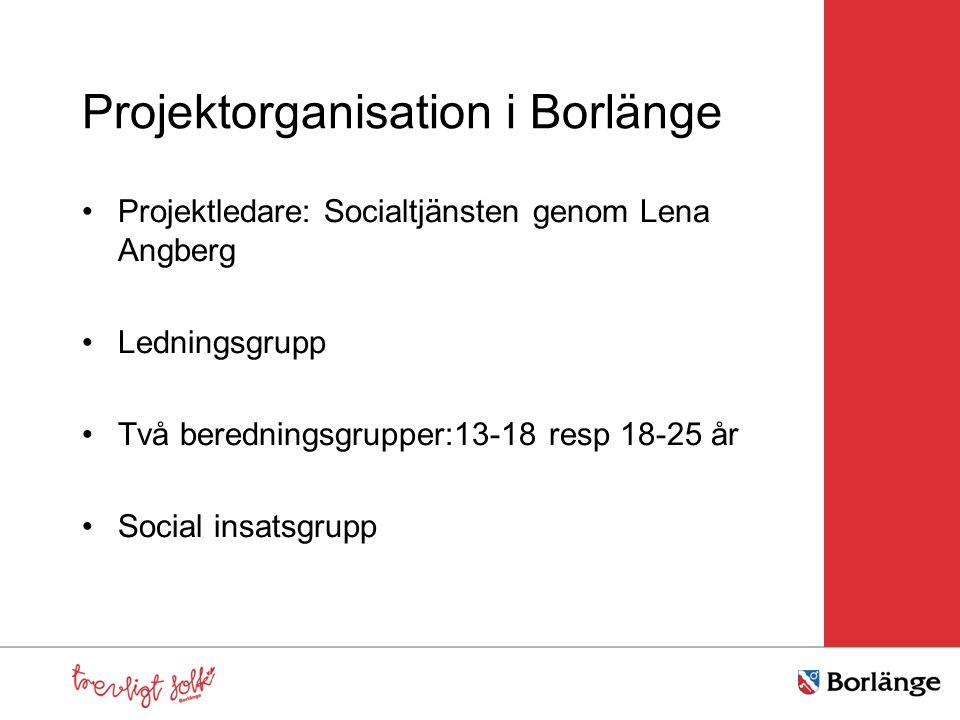 Projektorganisation i Borlänge Projektledare: Socialtjänsten genom Lena Angberg Ledningsgrupp Två beredningsgrupper:13-18 resp 18-25 år Social insatsg