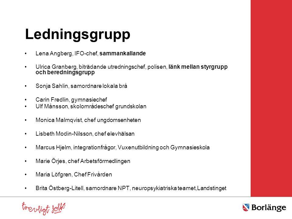 Ledningsgrupp Lena Angberg, IFO-chef, sammankallande Ulrica Granberg, biträdande utredningschef, polisen, länk mellan styrgrupp och beredningsgrupp So