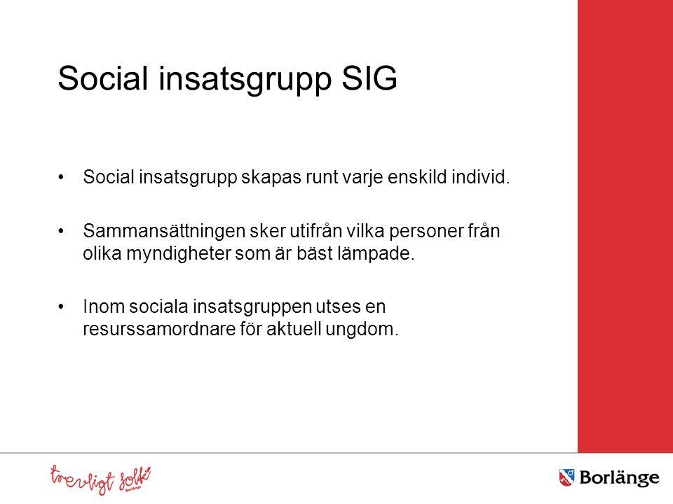 Social insatsgrupp SIG Social insatsgrupp skapas runt varje enskild individ. Sammansättningen sker utifrån vilka personer från olika myndigheter som ä