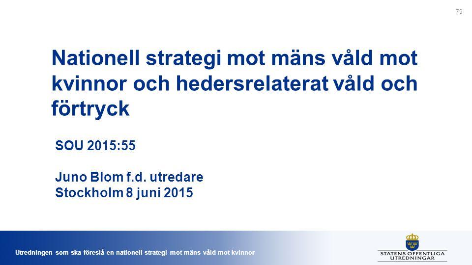 Utredningen som ska föreslå en nationell strategi mot mäns våld mot kvinnor Nationell strategi mot mäns våld mot kvinnor och hedersrelaterat våld och förtryck SOU 2015:55 Juno Blom f.d.