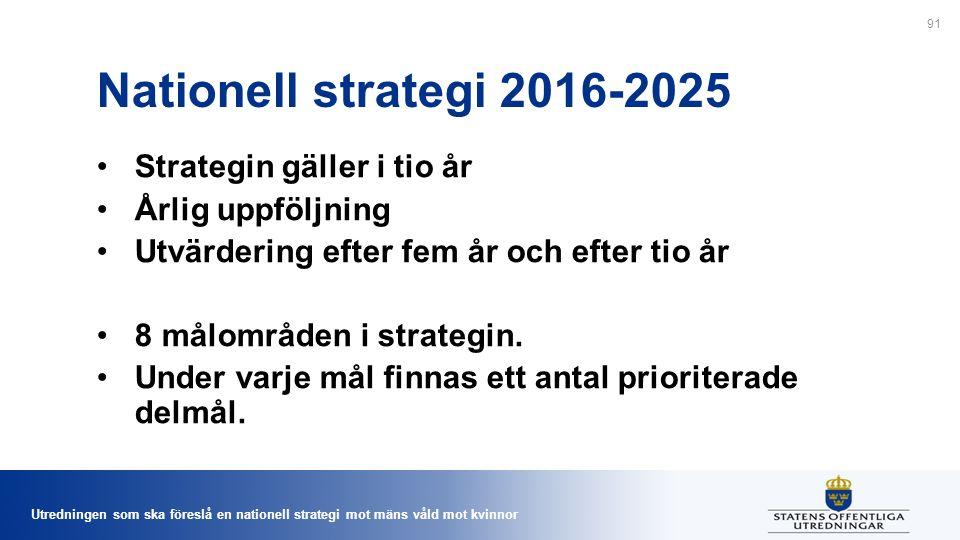 Utredningen som ska föreslå en nationell strategi mot mäns våld mot kvinnor Nationell strategi 2016-2025 Strategin gäller i tio år Årlig uppföljning Utvärdering efter fem år och efter tio år 8 målområden i strategin.