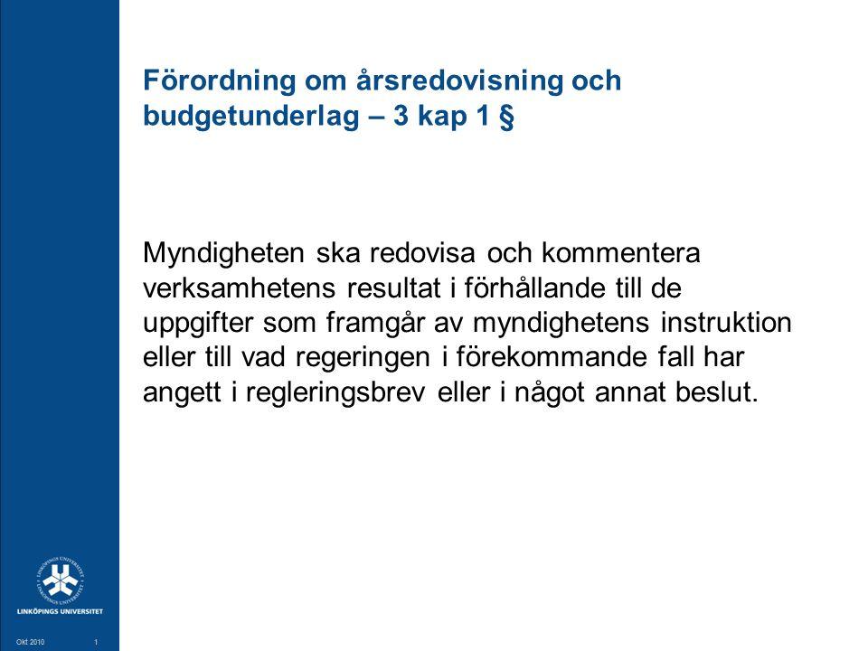 1 Okt 20101 Förordning om årsredovisning och budgetunderlag – 3 kap 1 § Myndigheten ska redovisa och kommentera verksamhetens resultat i förhållande t