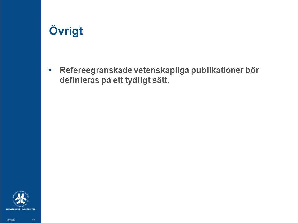 17 Okt 201017 Övrigt Refereegranskade vetenskapliga publikationer bör definieras på ett tydligt sätt.