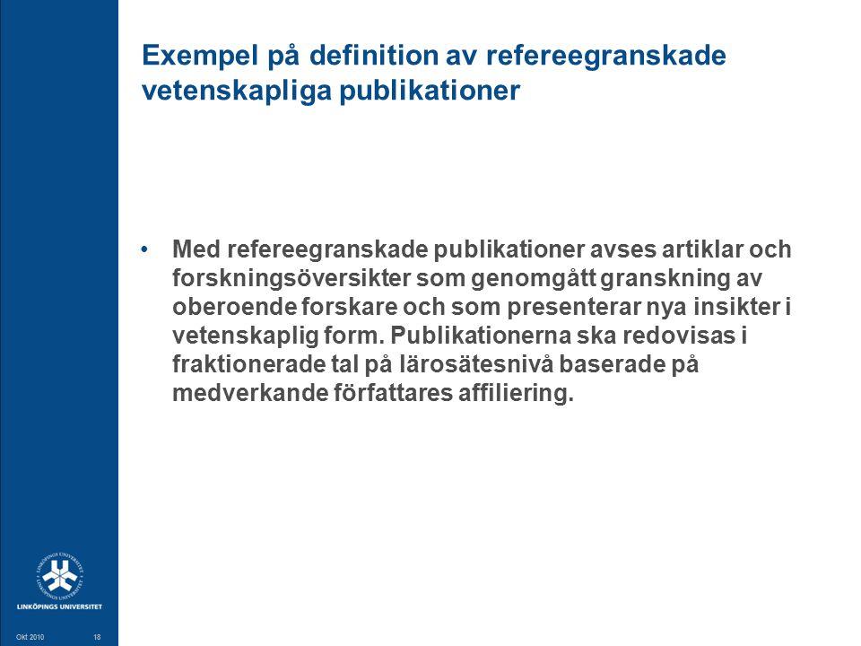 18 Okt 201018 Exempel på definition av refereegranskade vetenskapliga publikationer Med refereegranskade publikationer avses artiklar och forskningsöversikter som genomgått granskning av oberoende forskare och som presenterar nya insikter i vetenskaplig form.