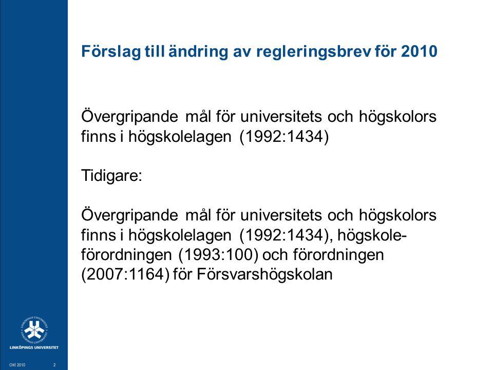 2 Okt 20102 Förslag till ändring av regleringsbrev för 2010 Övergripande mål för universitets och högskolors finns i högskolelagen (1992:1434) Tidigar