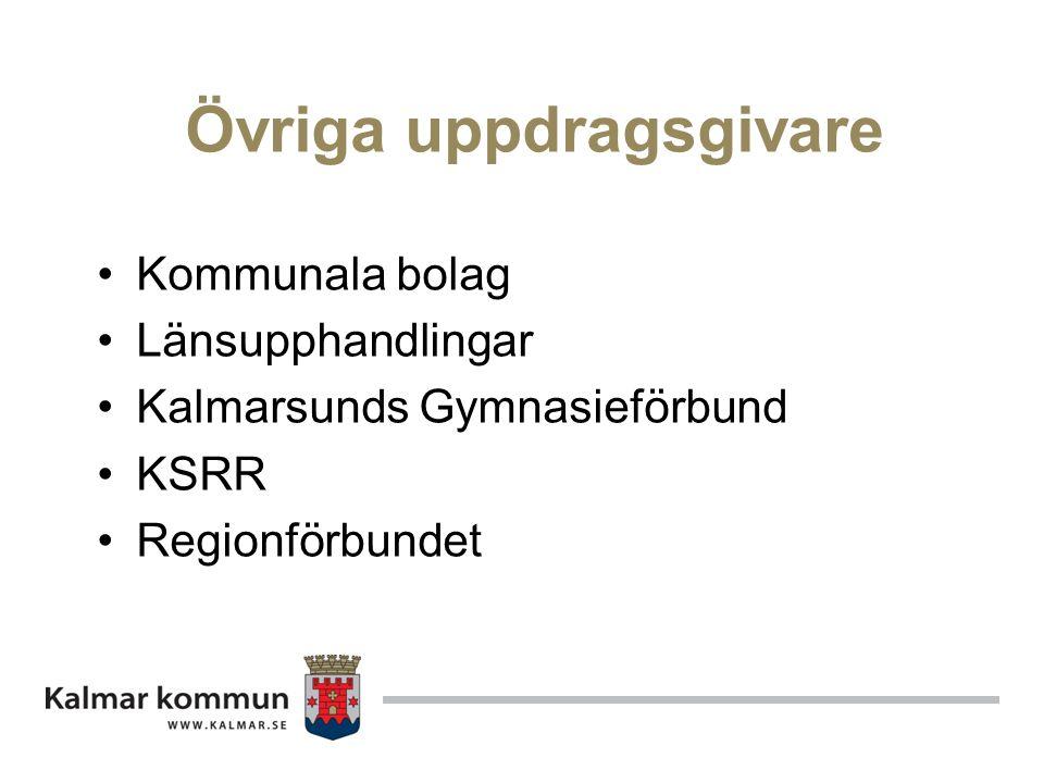 Övriga uppdragsgivare Kommunala bolag Länsupphandlingar Kalmarsunds Gymnasieförbund KSRR Regionförbundet