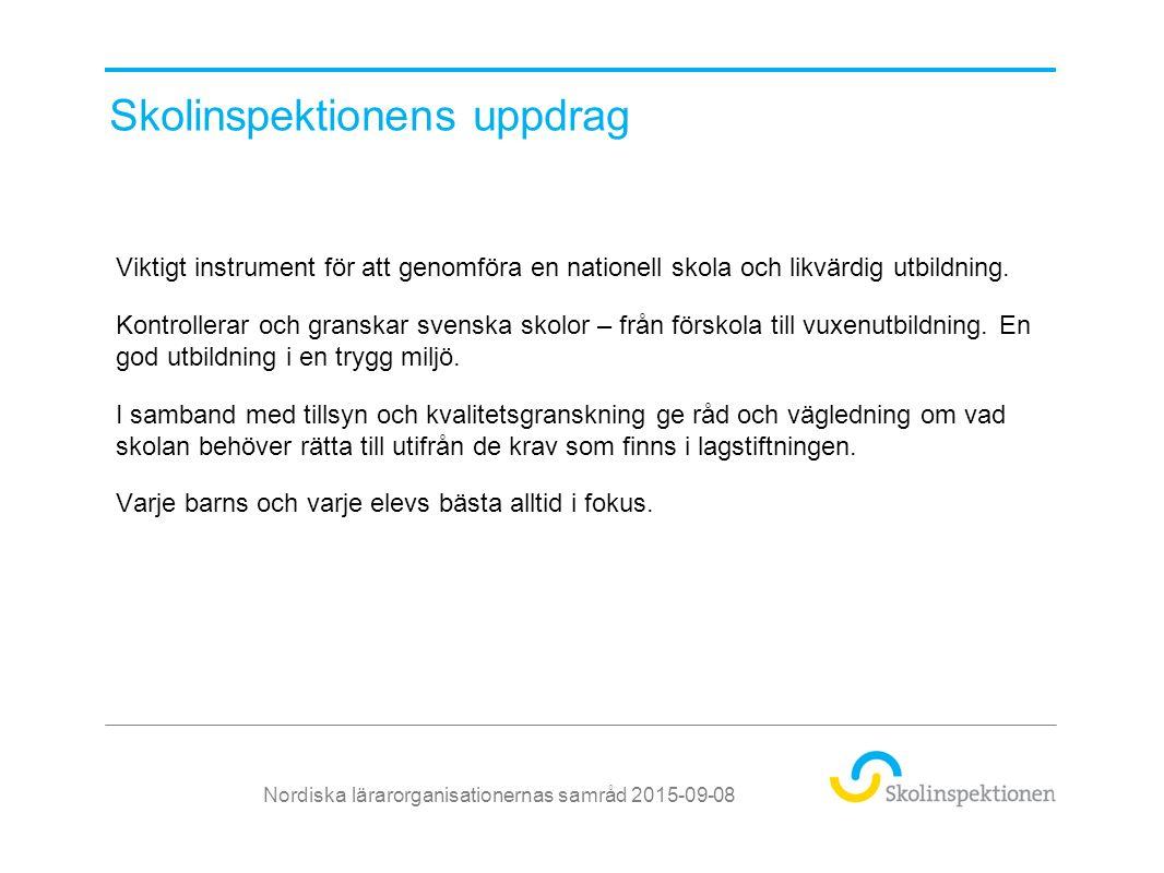 Bra tillsyn – bättre skola Nordiska lärarorganisationernas samråd 2015-09-08