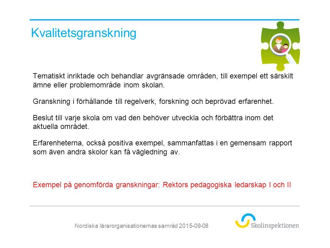 Regelbunden tillsyn – Bedömningsområden 1.Undervisning och lärande 2.