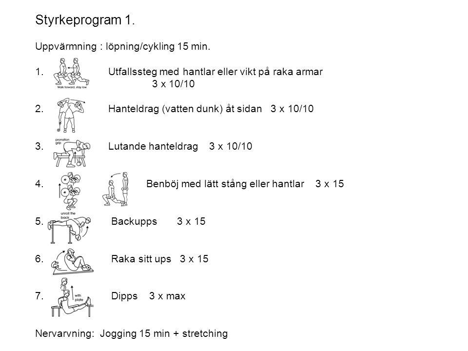 Styrkeprogram 2.Uppvärmning : löpning/cykling 15 min.