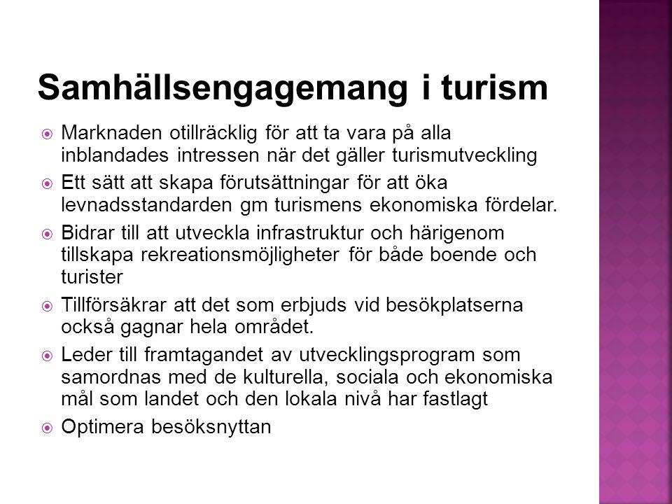  Marknaden otillräcklig för att ta vara på alla inblandades intressen när det gäller turismutveckling  Ett sätt att skapa förutsättningar för att öka levnadsstandarden gm turismens ekonomiska fördelar.