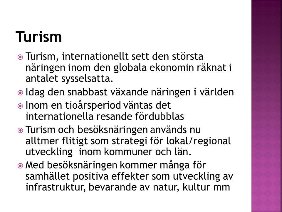  Omsätter i Sverige 252 MRD  Fritidsresenärer svarar för 43%  Resenärer från utlandet för 37%  Exportvärde, utländska besökares konsumtion, 93,6 Mrd vilket är mer än det samlade exportvärdet av järn och stål samt svenska personbilar tillsammans  Fler sysselsatta i Sverige än Volvo AB m.