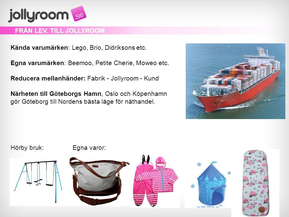 Kända varumärken: Lego, Brio, Didriksons etc. Egna varumärken: Beemoo, Petite Cherie, Moweo etc.