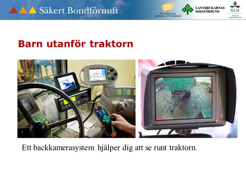 Ett backkamerasystem hjälper dig att se runt traktorn. Barn utanför traktorn