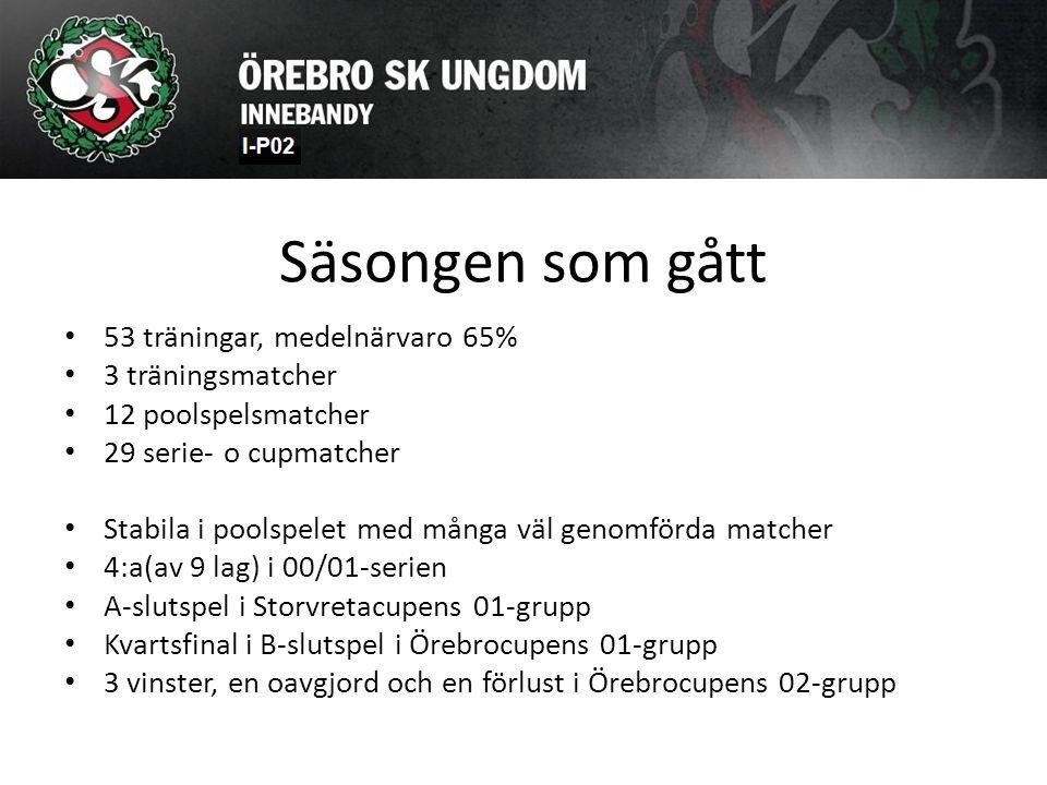 Säsongen som gått 53 träningar, medelnärvaro 65% 3 träningsmatcher 12 poolspelsmatcher 29 serie- o cupmatcher Stabila i poolspelet med många väl genomförda matcher 4:a(av 9 lag) i 00/01-serien A-slutspel i Storvretacupens 01-grupp Kvartsfinal i B-slutspel i Örebrocupens 01-grupp 3 vinster, en oavgjord och en förlust i Örebrocupens 02-grupp