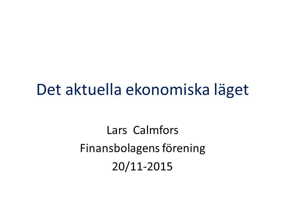 Prognoser för svensk BNP-tillväxt 2015201620172018 Konjunkturinsti- tutet (augusti) 3,03,12,62,1 Finansdeparte- mentet (september) 2,8 2,62,4 Riksgälden (oktober) 3,12,82,4 OECD (november) 2,93,13,0-