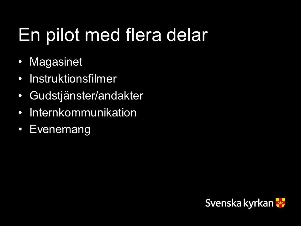 En pilot med flera delar Magasinet Instruktionsfilmer Gudstjänster/andakter Internkommunikation Evenemang