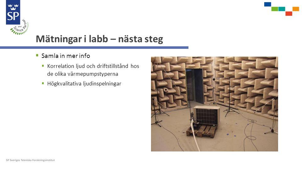 Mätningar i labb – nästa steg  Samla in mer info  Korrelation ljud och driftstillstånd hos de olika värmepumpstyperna  Högkvalitativa ljudinspelningar