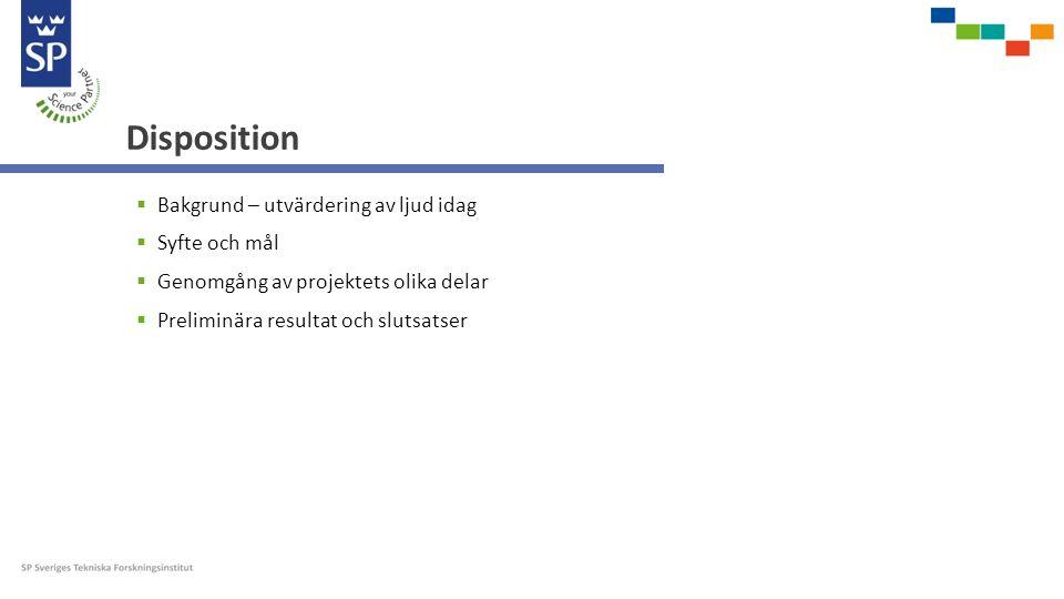 Disposition  Bakgrund – utvärdering av ljud idag  Syfte och mål  Genomgång av projektets olika delar  Preliminära resultat och slutsatser