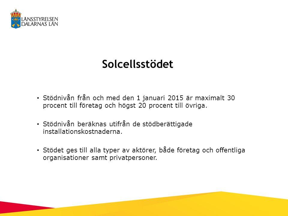 Solcellsstödet Stödnivån från och med den 1 januari 2015 är maximalt 30 procent till företag och högst 20 procent till övriga.
