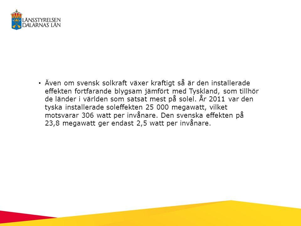 Även om svensk solkraft växer kraftigt så är den installerade effekten fortfarande blygsam jämfört med Tyskland, som tillhör de länder i världen som s