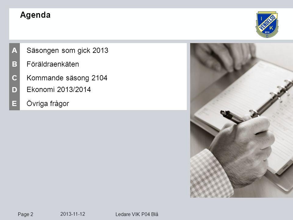 Page 2 2013-11-12 Ledare VIK P04 Blå Föräldraenkäten B Ekonomi 2013/2014 D Övriga frågor E Agenda Kommande säsong 2104 C Säsongen som gick 2013 A