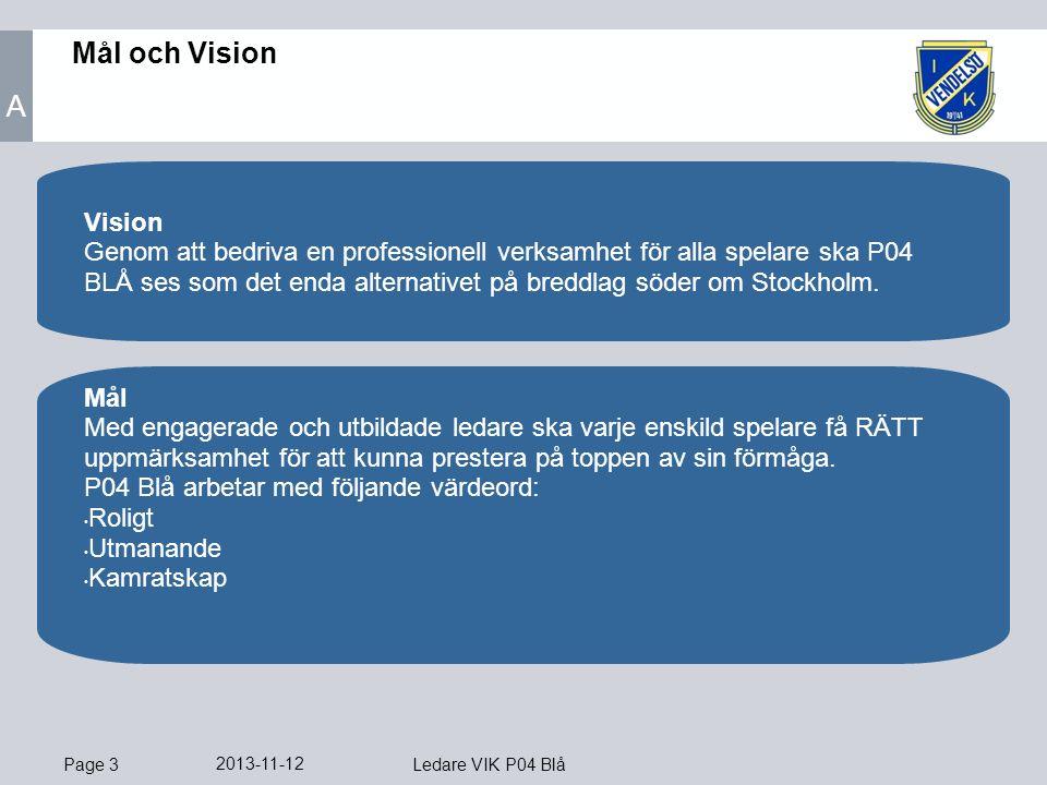 Page 3 2013-11-12 Ledare VIK P04 Blå Mål och Vision Mål Med engagerade och utbildade ledare ska varje enskild spelare få RÄTT uppmärksamhet för att kunna prestera på toppen av sin förmåga.