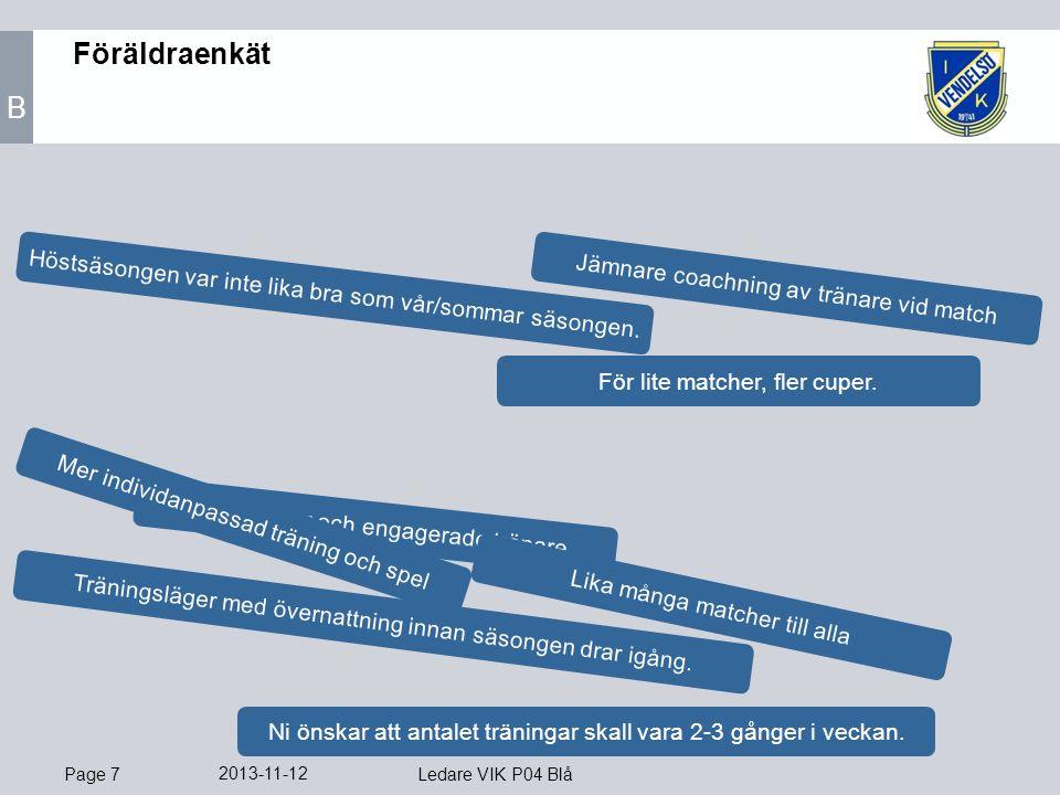 Page 7 2013-11-12 Ledare VIK P04 Blå Föräldraenkät B Bra träningar och engagerade tränare.