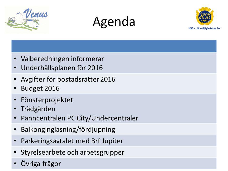 Agenda Valberedningen informerar Underhållsplanen för 2016 Avgifter för bostadsrätter 2016 Budget 2016 Fönsterprojektet Trädgården Panncentralen PC City/Undercentraler Balkonginglasning/fördjupning Parkeringsavtalet med Brf Jupiter Styrelsearbete och arbetsgrupper Övriga frågor