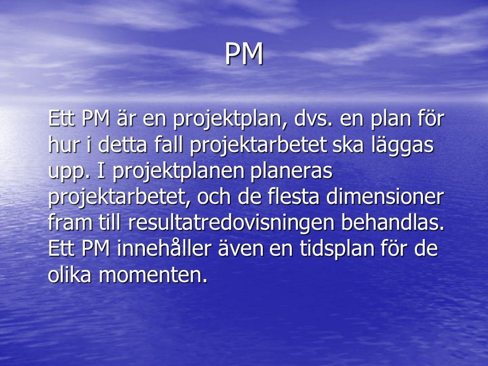 PM Ett PM är en projektplan, dvs.en plan för hur i detta fall projektarbetet ska läggas upp.