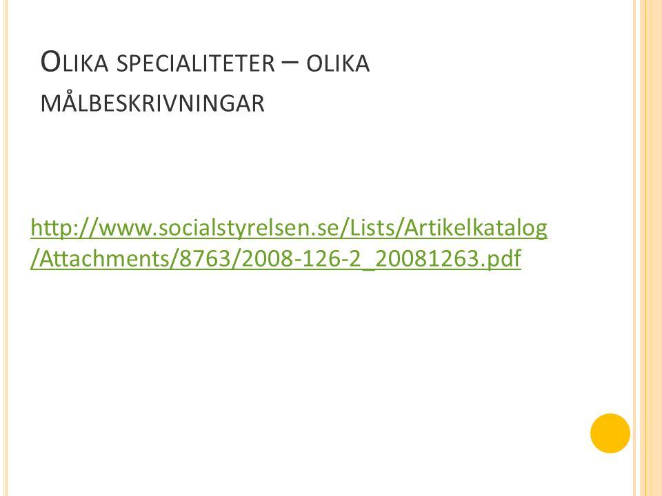 O LIKA SPECIALITETER – OLIKA MÅLBESKRIVNINGAR http://www.socialstyrelsen.se/Lists/Artikelkatalog /Attachments/8763/2008-126-2_20081263.pdf