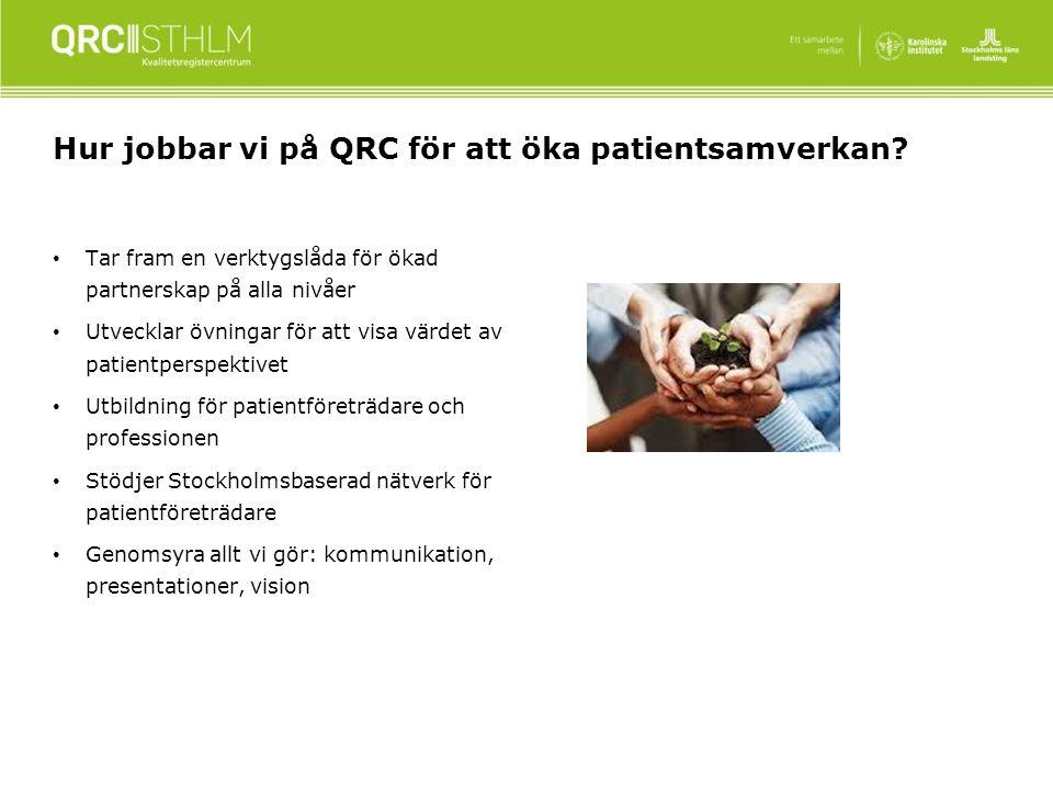 Hur jobbar vi på QRC för att öka patientsamverkan.