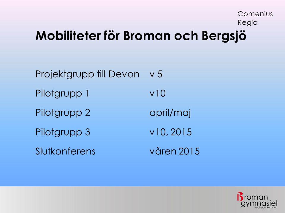 Mobiliteter för Broman och Bergsjö Projektgrupp till Devon v 5 Pilotgrupp 1 v10 Pilotgrupp 2 april/maj Pilotgrupp 3 v10, 2015 Slutkonferensvåren 2015 Comenius Regio