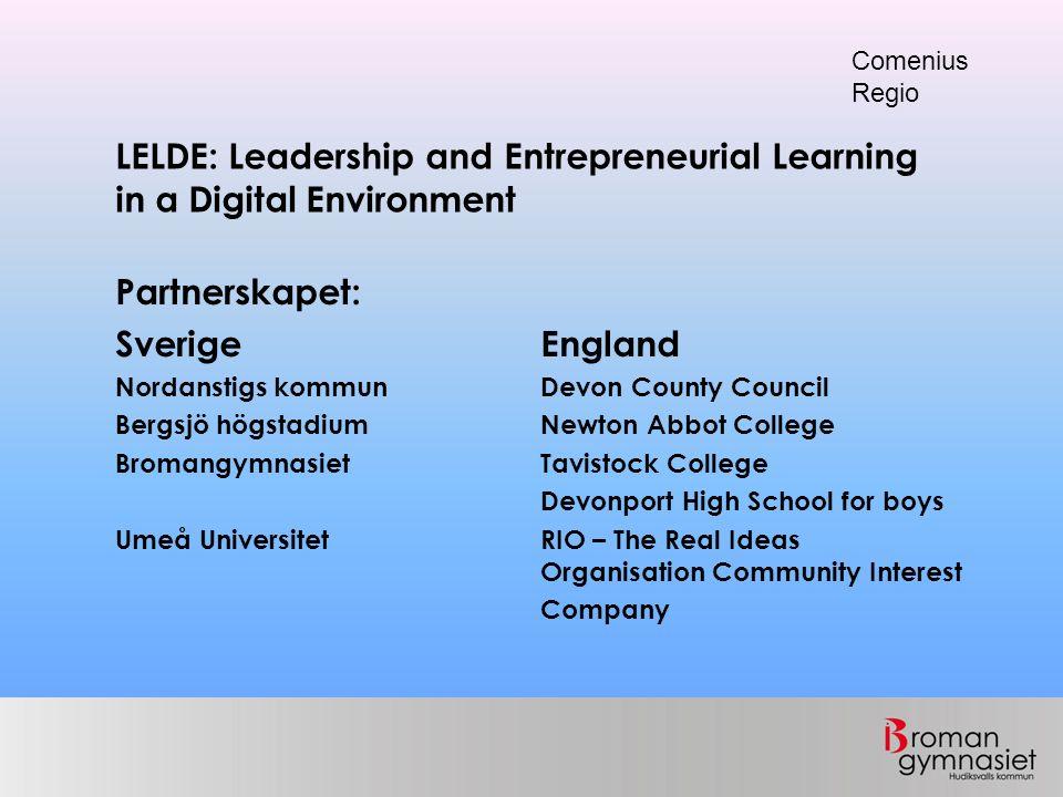 LELDE: Leadership and Entrepreneurial Learning in a Digital Environment Comenius Regio Finansiering: Universitets- och högskolerådet 45 000 euro Egenfinansiering: del av fortbildningsbudget samt egen arbetstid