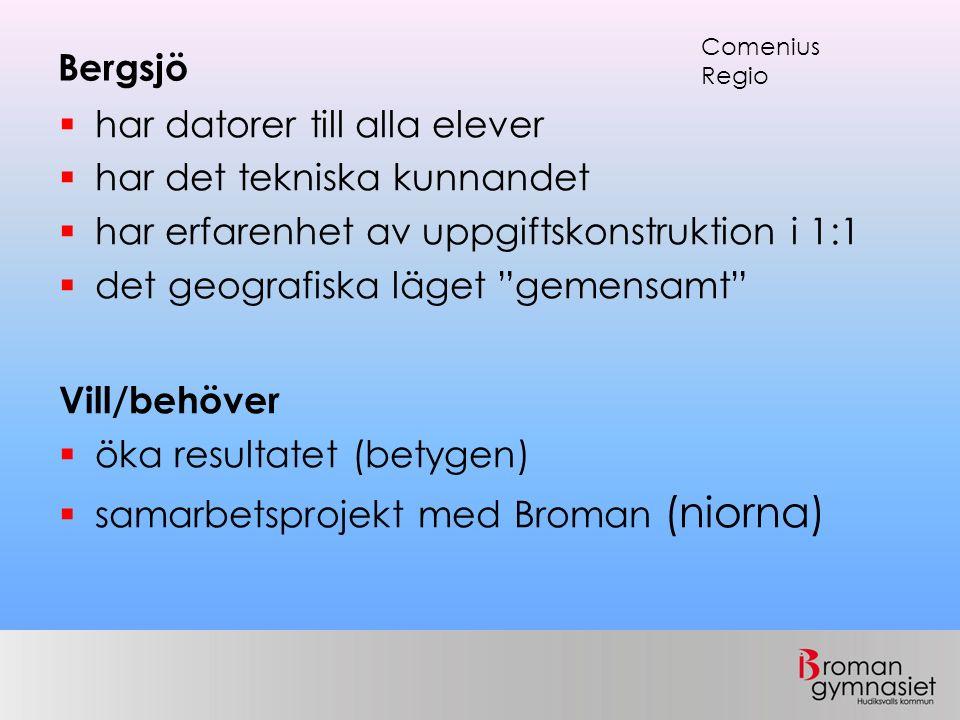 Bergsjö  har datorer till alla elever  har det tekniska kunnandet  har erfarenhet av uppgiftskonstruktion i 1:1  det geografiska läget gemensamt Vill/behöver  öka resultatet (betygen)  samarbetsprojekt med Broman (niorna) Comenius Regio