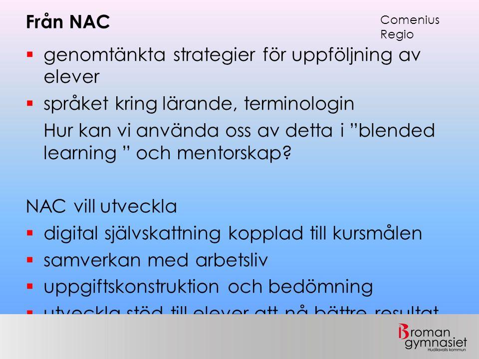 """Från NAC  genomtänkta strategier för uppföljning av elever  språket kring lärande, terminologin Hur kan vi använda oss av detta i """"blended learning"""