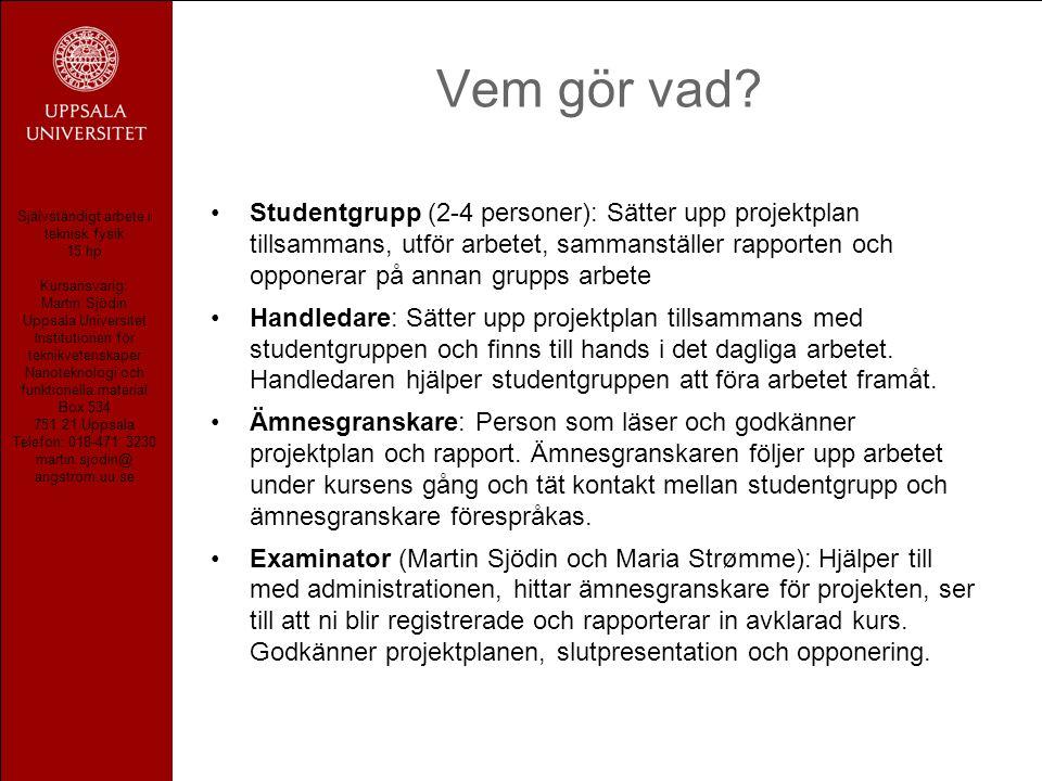 Självständigt arbete i teknisk fysik 15 hp Kursansvarig: Martin Sjödin Uppsala Universitet Institutionen för teknikvetenskaper Nanoteknologi och funkt