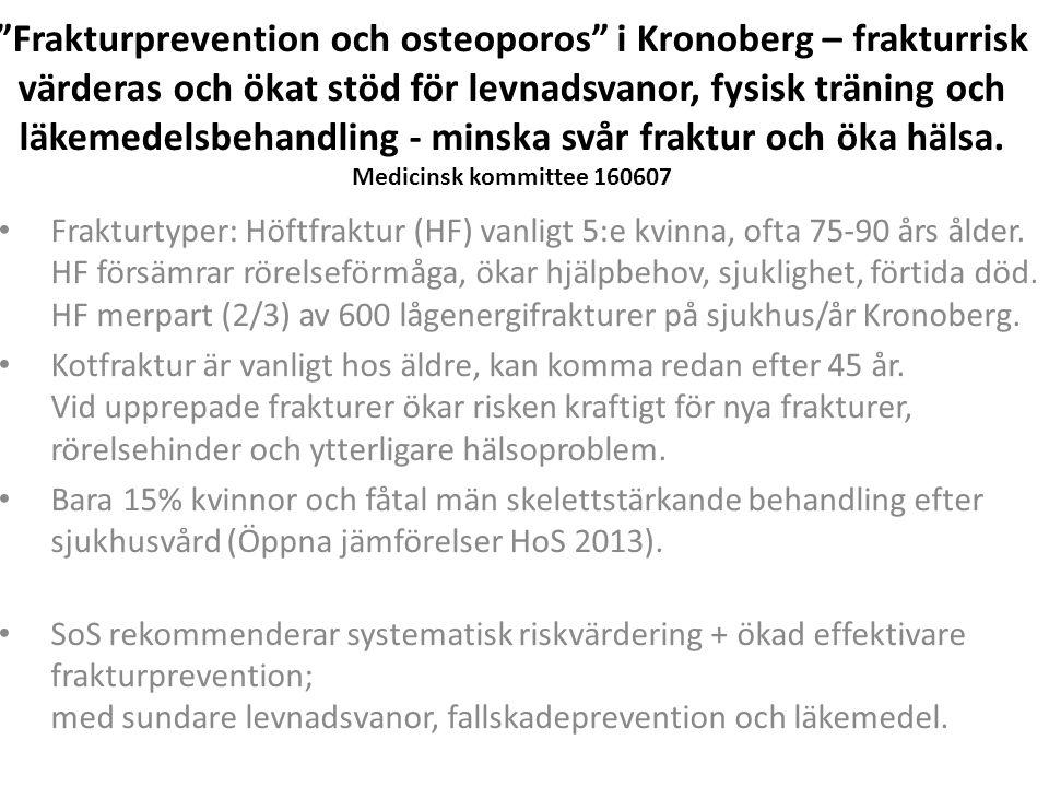 Frakturprevention och osteoporos i Kronoberg – frakturrisk värderas och ökat stöd för levnadsvanor, fysisk träning och läkemedelsbehandling - minska svår fraktur och öka hälsa.