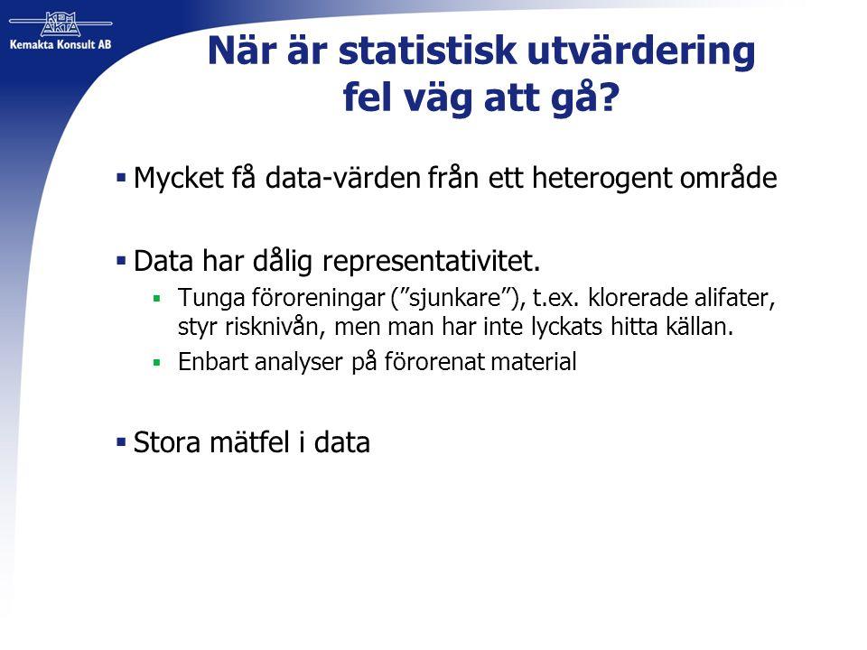 När är statistisk utvärdering fel väg att gå?  Mycket få data-värden från ett heterogent område  Data har dålig representativitet.  Tunga förorenin