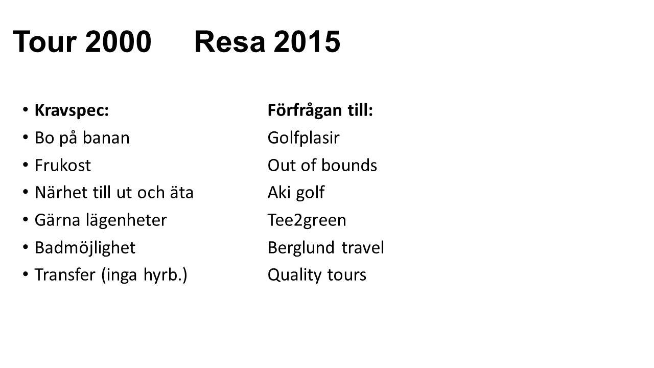 Tour 2000 Resa 2015 Kravspec: Förfrågan till: Bo på banan Golfplasir FrukostOut of bounds Närhet till ut och äta Aki golf Gärna lägenheterTee2green BadmöjlighetBerglund travel Transfer (inga hyrb.)Quality tours