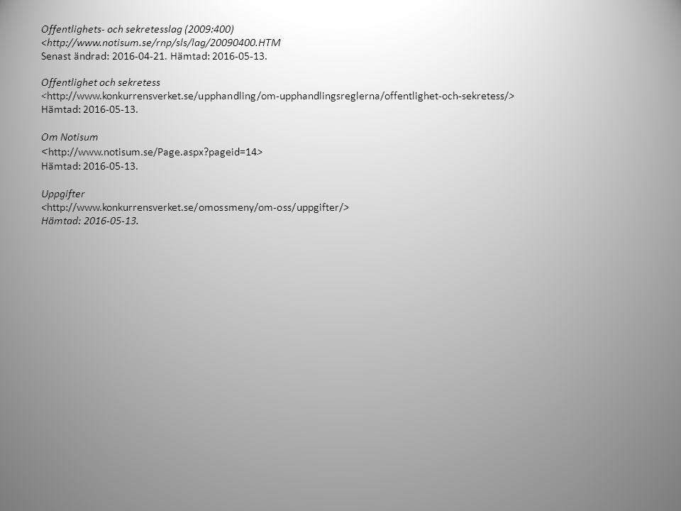 Källförteckning Elektroniska källor Introduktion till upphovsrätt Senast uppdaterad (granskad): 2015-02-11. Hämtad: 2016-05-13 Licens Hämtad: 2016-05-