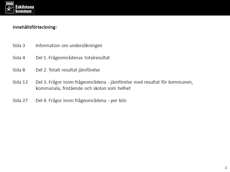 Information om undersökningen: Barn- och utbildningsförvaltningen genomför årligen en enkät till grundskoleelever i årskurs 2,5 och 8 i Eskilstuna kommun.