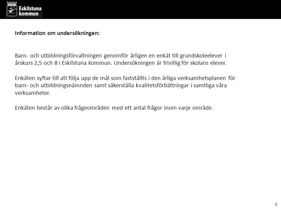 Information om undersökningen: Barn- och utbildningsförvaltningen genomför årligen en enkät till grundskoleelever i årskurs 2,5 och 8 i Eskilstuna kom