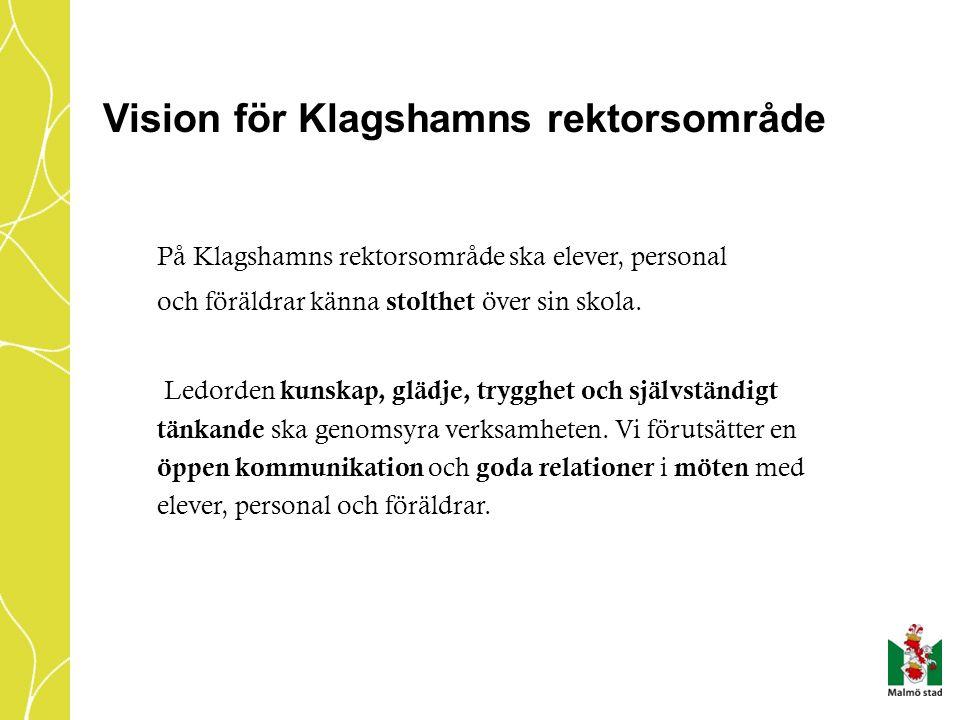 Vision för Klagshamns rektorsområde På Klagshamns rektorsområde ska elever, personal och föräldrar känna stolthet över sin skola. Ledorden kunskap, gl