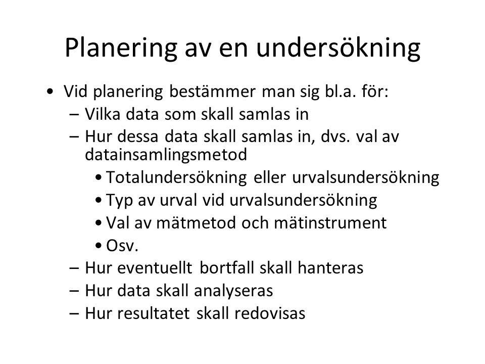 Planering av en undersökning Vid planering bestämmer man sig bl.a.