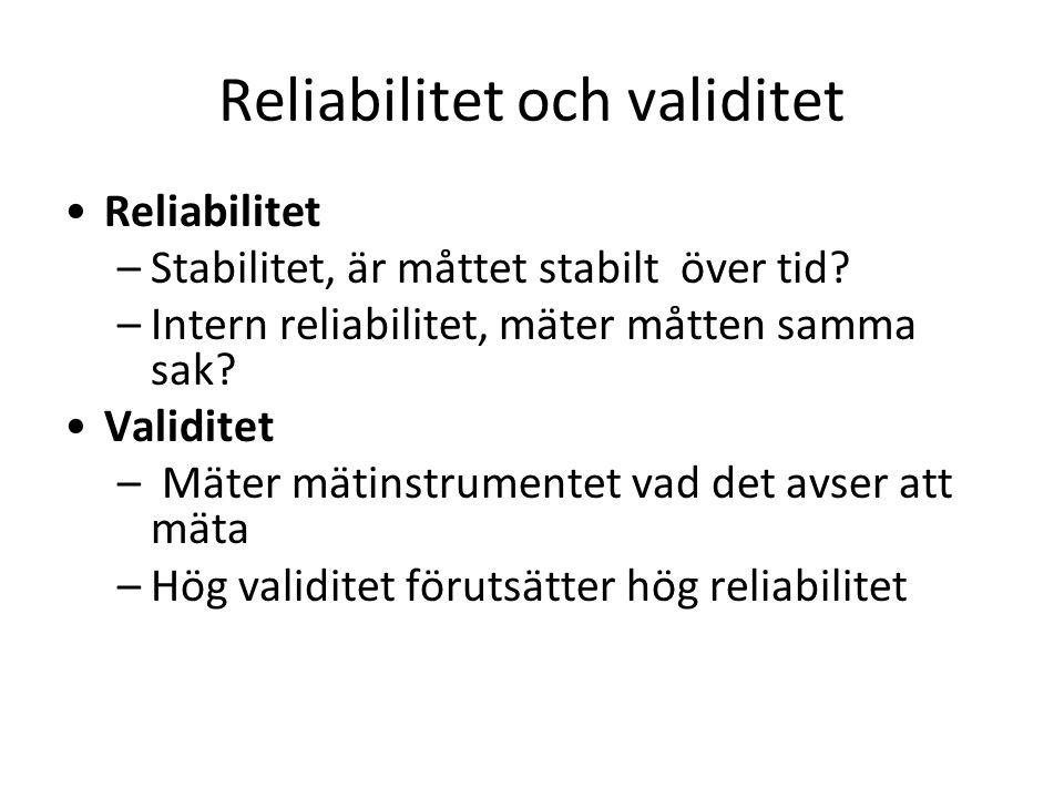 Reliabilitet och validitet Reliabilitet –Stabilitet, är måttet stabilt över tid.