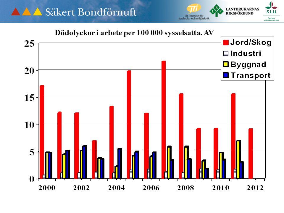 Dödolyckor i arbete per 100 000 sysselsatta. AV