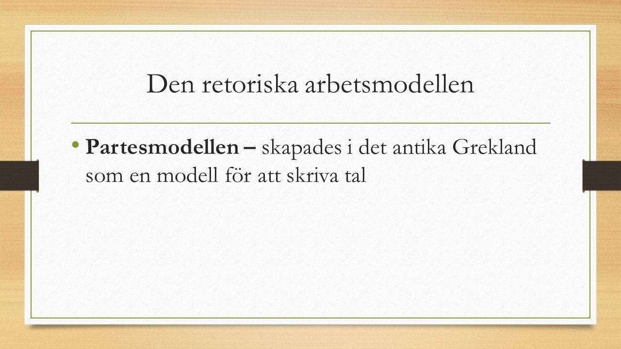 Den retoriska arbetsmodellen Partesmodellen – skapades i det antika Grekland som en modell för att skriva tal