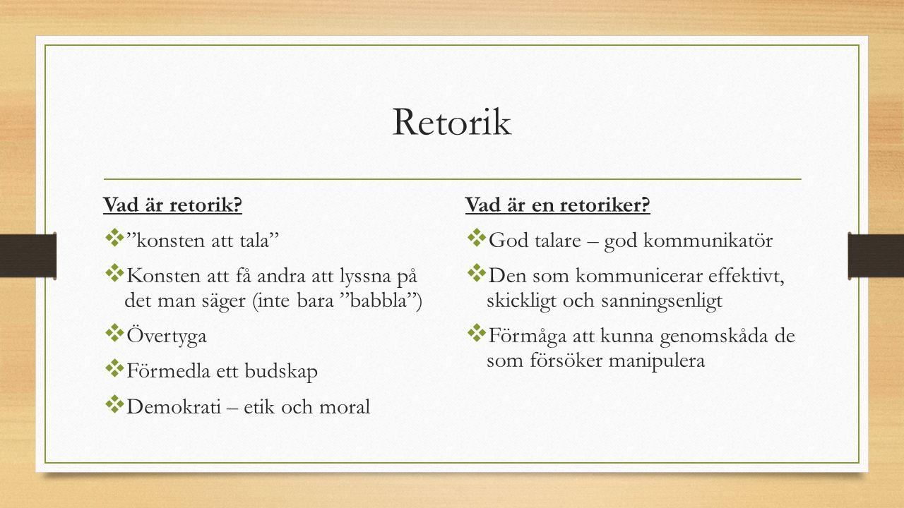 Retorik Vad är retorik.
