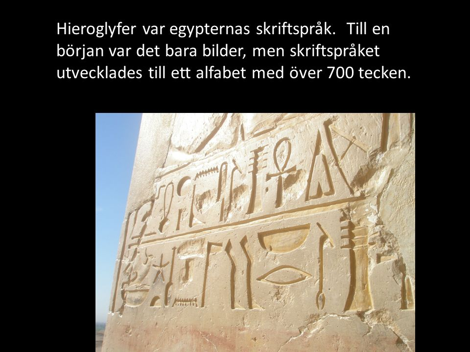Hieroglyfer var egypternas skriftspråk.